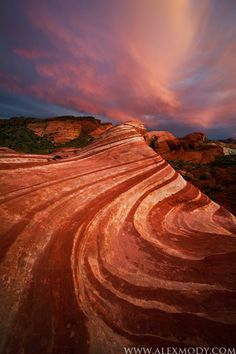 Fire Wave on Fire Valley of Fire State Park, Nevada, USA by Alex Mody.