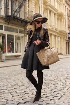 :: soho style :: love this look Passion For Fashion, Love Fashion, Womens Fashion, Fashion Trends, Parisian Fashion, Fashion Black, Street Fashion, Thigh High Boots Outfit, Tights Outfit