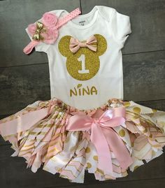 A personal favorite from my Etsy shop https://www.etsy.com/listing/254892325/3-pc-stunning-pink-and-gold-minnie-mouse