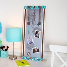 Organize your jewelry and pictures with this DIY Magnetic Memo Board/Jewelry Holder
