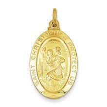 Saint Christopher Medal, Exquisite Charm in 24k Gold-Plated Sterling Silver