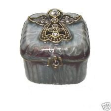 PURPLE BLUE JEWELLED ENAMEL 'ANGEL' TRINKET PILL BOX MINIATURE ENAMEL BOX - NEW