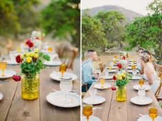 I love the yellow vase and cups on this tablescape...