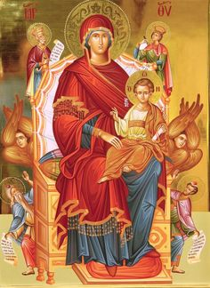 Theotokos Enthroned with the Christ Child, Kings David and Solomon, and possibly the Prophet Isaiah & St. Religious Pictures, Religious Icons, Religious Art, Our Lady Of Rosary, Church Icon, Roman Church, Jesus Christ Images, Blessed Mother Mary, Mary And Jesus