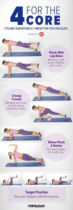 The Quickest Muffin-Top Workout. Even if you only have five minutes, you can fit in an ab workout. This workout targets the obliques to tone the muffin top and will work your middle from all angles. Fitness Workouts, Fitness Motivation, Sport Fitness, Ab Workouts, Body Fitness, Fitness Diet, At Home Workouts, Health Fitness, Core Exercises