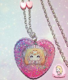 Collar Corazón Sailor Moon Fight Like a Girl por mariakawaiistore #kawaii #harajuku #tumblr #sailormoon #necklace #harajukufashion