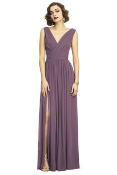 Dessy 2894 Bridesmaid Dress in Plum in Chiffon