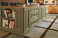 This island has an aged look with the Seagrass finish, which has a light dry-brush finish.