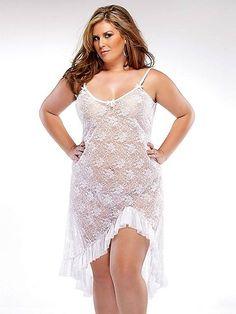 Stretch Lace Gown Sleepwear & Robes http://www.planetgoldilocks.com/plussize_lingerie.htm #plussizelingerie #plussizelingeriefashions #plussizelingeriesales