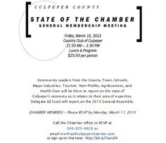 Have you RSVP'd yet? State of the Chamber General Membership Meeting on Friday 15 March: