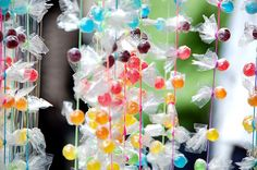 candy garland...adorable birthday party decor!
