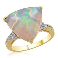 Liquidation Channel | 14K Yellow Gold Ethiopian Welo Opal and Diamond Ring