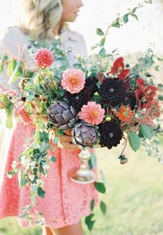 Dahlias and artichokes