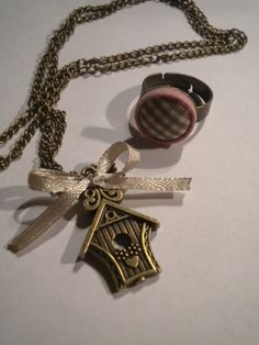 Vintage bird house necklace with ring