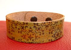 Hand Painted & Stamped Leather Cuff Bracelet, Copper and Green Ornate Pattern (One of a Kind)