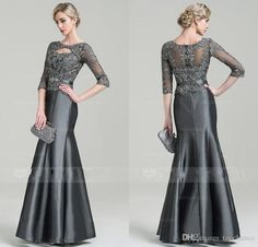 Dark Gray Lace Mother of the Bride Dress with 3/4 Long Sleeve Meramid Vintage Formal Evening Occasion Gowns Plus Size Keyhole Neck