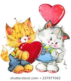 Cat Cards, Pink Hat, Watercolor Illustration, Cute Cats, Rooster, Pikachu, Valentines, Fictional Characters, Art