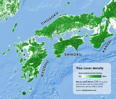 Tree Cover Density of Kyushu, Shikoku, Chugoku and Kansai, Japan