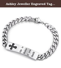 Ashley Jeweller Engraved Tag Bracelet 316L Stainless Steel Cross Round Cubic Zirconia 7.5 inch. Perfect Stainless Steel Jewelry at Unmatched Prices Discover our perfect stainless steel jewelry, made by hand, using only the finest materials. On top of that, we guarantee unmatched prices, thanks to our unique way of working. Besides our unbeatable quality and price, we offer the possibility of customing your design and guarantee personal service. As an expert in fashion jewelry, we create…