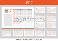 2017 calendar with space for your pictures, twelve month set