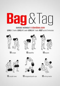 Bag And Tag workout. Gym Workouts, At Home Workouts, Sandbag Workout, Darebee, Bodybuilding Workouts, I Work Out, Workout Programs, Cardio, Tabata
