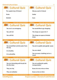 Cultural quiz about Finland - student's cards