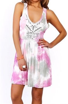This pretty tie dyed sun dress is studded and has a sexy open back. Perfect summer lightweight festival dress or glam up with sexy heels for a night out on the town. Spring break party mini dress is right on in style for all your party needs. Fabric is 95% Rayon, 5% Spandex..