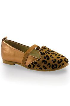 Leopard Toe Flat in Copper