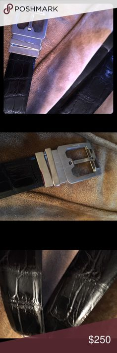 HOLIDAY SALE alligator men's ferragamo belt Maybe worn once by my husband- but didn't look worn- beautiful brushed stainless buckle with black alligator belt Ferragamo Accessories Belts Alligator Belt, Holiday Sales, Cartier, Salvatore Ferragamo, Belts, Dior, Husband, Men, Accessories