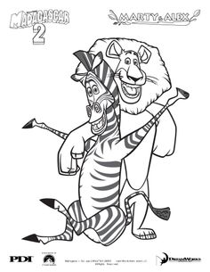 Madagascar 2 : Marty and Alex coloring page - Coloring - Famous character coloring pages - Madagascar 2: Escape 2 Africa coloring pages
