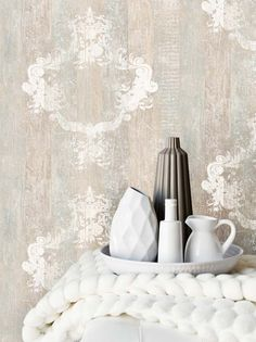 Serenity Sand Faux Wood Damask Overlay Wallpaper From Wallpaper Republic. Dining Room Wallpaper, Paper Wallpaper, White Wallpaper, Demask Wallpaper, Wallpaper Toronto, Ornament Tapete, Faux Wood Wall, Wood Walls, Shabby Chic Tapete