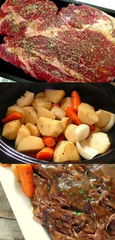 Slow Cooker 'Melt in Your Mouth' Pot Roast ~ This pot roast is perfect for a hearty, slow dinner at the end of the day. Every component brings the dish its pure perfection.:
