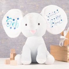 This sweet cuddly toy elephant would make a great gift for a baby. Personalise the ears with their name to be embroidered. Shop now!