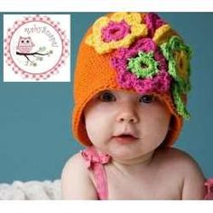 Crochet Flowers Hat for Baby -  Crochet Gorro de Flores para Bebé