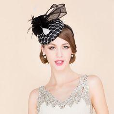 e7d3e8551df1a Fancy Black and White Church Dress Beret Hat for Women. Pillbox  HatFascinator HatsFascinatorsBeretTea ...