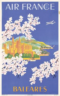 Original 1950s Air France Travel Poster BOUCHER Ba - by PosterConnection Inc.