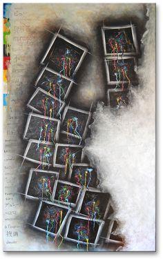 "Title: ""17 Frames"" . Size : 51.2''X37.4'' , (130X95cm) . Medium: acrylic on canvas . Year: 2013 . © art of Ioannis Tsaousidis"