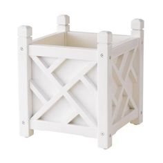 White Square Chippendale Planter