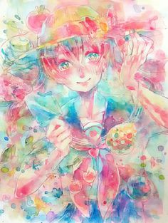 #illustration #original #watercolor #art #girl #summer