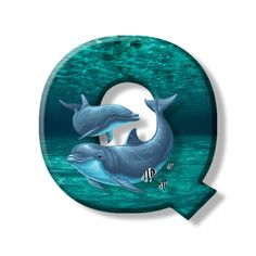 Buchstabe - Letter Q Monogram Alphabet, Dolphins, Initials, Ocean, Symbols, Illustration, Crafts, Dolls, Alphabet