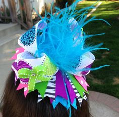 HAIRBOWS: Over The Top Zebra and Leopard Bright Poka Dot Boutique Hairbow with Ostrich Puff via Etsy