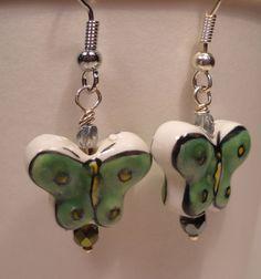Green Butterfly Earrings Beaded Dangles Boho by BluJeanBeads,