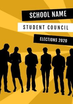 A promotional poster template. A bright yellow background with illustrations of students. Space is also included displaying the school name student council elections