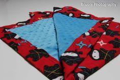 Ninja and Bright Blue Minky Miter Corner Blanket by SewAwesomeShop