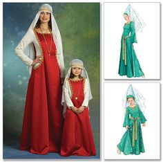 Medieval Gown Lady in Waiting Maid Marian Costume by TLCsTreasures Moda Medieval, Medieval Gown, Medieval Costume, Medieval Clothing, Halloween Costume Sewing Patterns, Costume Patterns, Dress Patterns, Merida Brave Costume, Merida Dress