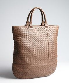 Bottega Veneta: brown intrecciato leather shopper tote