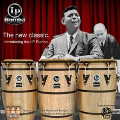 """Latin Percussion LP-RUM-KIT-03 Rumba 10-Inch, 11-Inch and 12-Inch Conga Set - Traditional Design with Steel Bands by Latin Percussion. $450.00. The LP Rumba Series offers LP's very best in craftsmanship. Each drum has a Classic retro design with unique exterior bands that harken back to the days of the famous Palladium Dance Hall. The LP Rumba features 28"""" Tall Siam Oak Wood Shells, Hand Selected Natural Rawhide Heads, Traditional Rims, Side handle for easy transpo..."""
