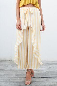 Up For A Change Vertical Stripe Pattern High Waist Side Split Ruffle Loose Wide Leg Pants - 2 Colors Available Fashion Pants, Fashion Outfits, Women's Fashion, Fashion Online, Pantalon Large, Ruffle Pants, Floral Pants, Boho Pants, Casual Pants