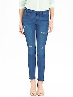 Womens The Rockstar Mid-Rise Distressed Super Skinny Jeans