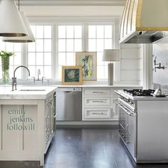 white formal country/cottage kitchen with rich contrasting ebony floor -unique .understated.. casual luxe - emily jenkins followill